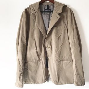 Aquarama Men's Hooded Blazer Jacket Tan Italian
